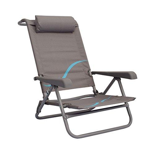 Meerweh Volwassenen campingstoel strandstoel met verstelbare rugleuning en hoofdkussen klapstoel visstoel, grijs/blauw, XXL, 20032