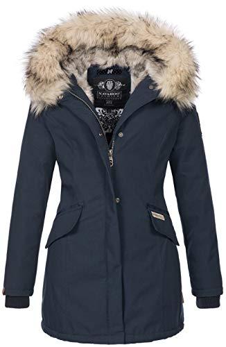Navahoo Premium B669 Winterjas voor dames, parka, warm imitatiebont,, navy, L