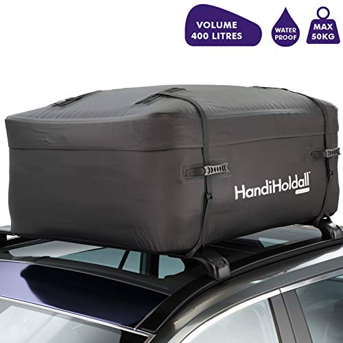 HandiHoldall XL 400L waterdichte daktas / bovenbox (zwart) – vrachtdrager met opvouwbare stevige basis