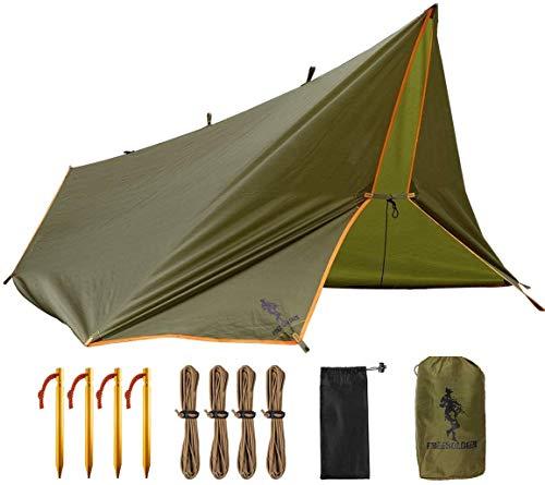 FREE SOLDIER Camping Tarp Waterdicht 3 m x 3.2 m Grote Hangmat Tent Tarp Draagbare Dekzeil Anti-UV Onderdak Zonneblok Zonnescherm Luifel voor Camping Wandelen Reizen Outdoor Sport (Bruin Met Nagels)