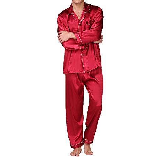 Heren pyjama geometrische print lange mouwen pyjama voor mannen nachtkleding twee stukken dunne pyjama set, Type 5, XL