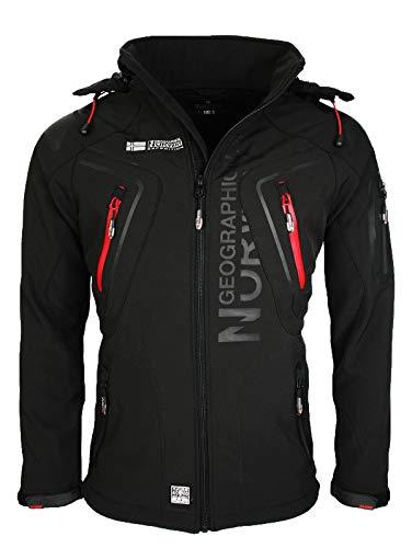 Geografisch Noorwegen TECHNO MEN - Waterdichte Softshell Jacket voor heren - Ademende mantel voor buiten - Tactische Winter Winddichte Jas - Ideale Buitenactiviteiten (ZWART XL)