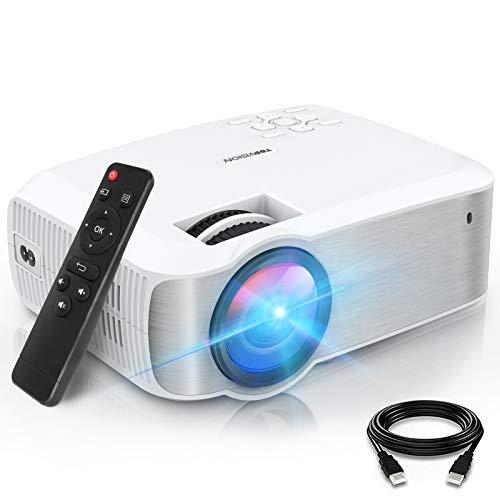 TOPVISION Mini Beamer, Native 1080P Home Cinema Beamer Ondersteunt 1080P Full HD, 7000 Lumen Video Beamer met 300'' Display, 120000 uur LCD Projector Compatibel met HDMI/USB/SD/AV/VGA