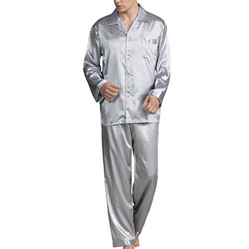 Allthemen Satijnen herenpyjama, lange huispak, nachtkleding, shirt met lange mouwen en pyjamabroek, #89008 Grijs, XL