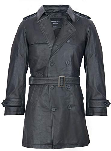 Mens zwarte Duitse militaire WW2 Vintage lange trenchcoat lederen jas, Zwart, XL
