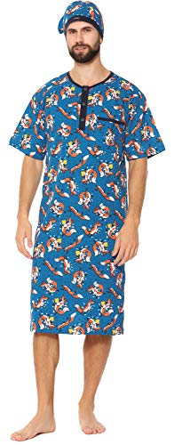Cornette Heren Nachthemd met Slaapmuts 109V2020 (Patroon-653801, L)