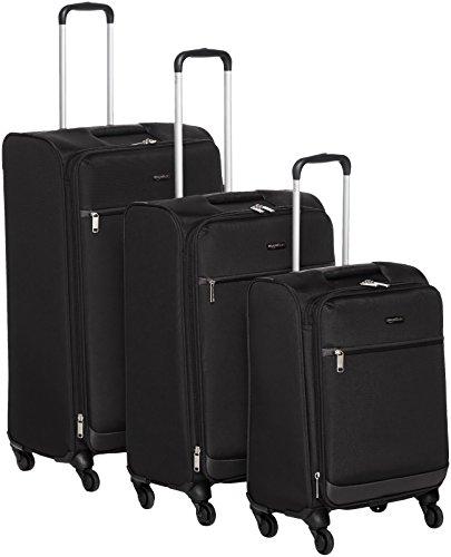 Amazon Basics zachtzijde spinner bagage - 3 stukset (53 cm, 64 cm, 74 cm), zwart