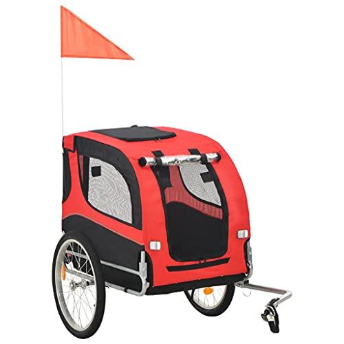 vidaXL Hondenfietskar Rood Zwart Hondenkar Fietskar Hondenwagen Hondentrailer