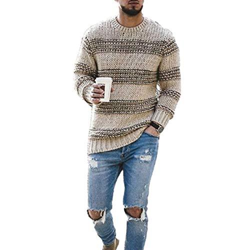 Trui met ronde hals voor heren Gestreept jacquard Kleurblokken Slank Regular-fit Eenvoudig casual Wild pullover-trui X-Large