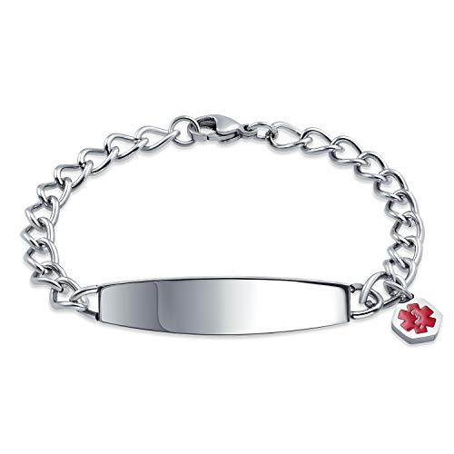 Bling Jewelry Id-Tag Medische Alarmid armband graveerbare kinketting voor dames heren roestvrij staal