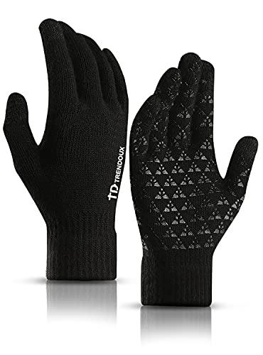 TRENDOUX Werkhandschoenen winter, handschoenen heren touchscreen dames mobiele telefoon - anti-slip handvat - elastische manchet - warm gevoerd - rekbaar materiaal - dunne thermische handschoenen - zwart L