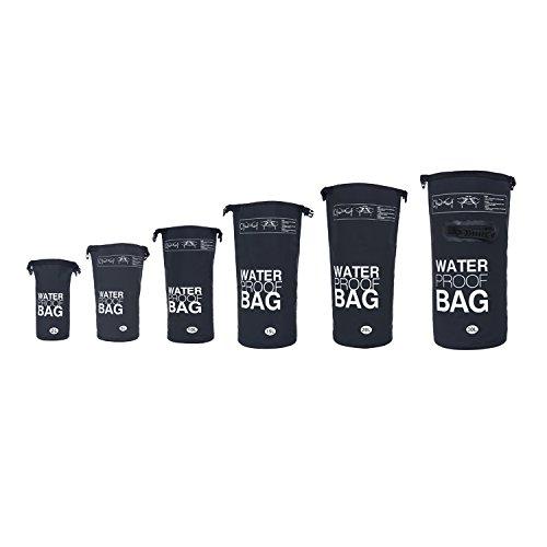 DonDon waterdichte outdoor dry bag zak droge zak met riemen bescherming tegen water droge zak voor uw waardevolle spullen en voorwerpen zwart 5 liter