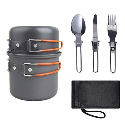 ACCLD Draagbare campingkooktoestel met servies picknick camping wandelrugzak pot pot pot outdoor kookkom set, oranje