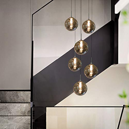 CBJKTX hanglamp eettafel hanglamp in hoogte verstelbare kroonluchter hanglamp 6-vlams glas in kleur grijs keuken woonkamer lamp slaapkamer lamp hal lamp