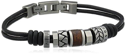 Fossil Heren - Rondell armband & ketting, Eén maat, Leer, Zonder steen of parel,