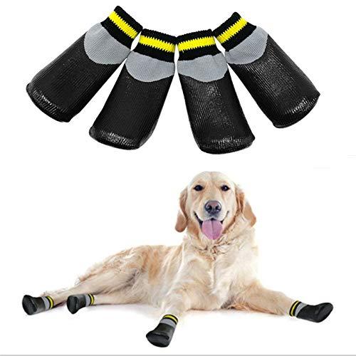 VICTORIE Hondenschoenen Regen Waterdichte beschermende laarzen voor middelgrote en grote honden 4 stuks Zwart S
