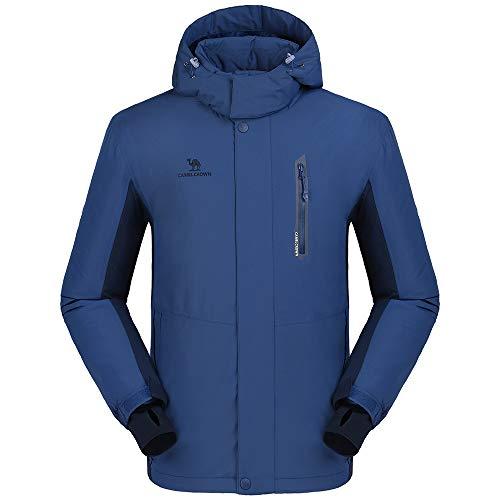 CAMEL CROWN Ski-jack voor heren, waterdichte winterjas, wandeljas, regenjas, winddicht, outdoor functionele jas, volledige rits, warme fleecevoering, snowboardjas, vrijetijdsjas met afneembare capuchon, blauw, L