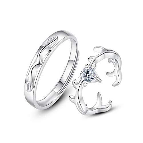 ZNXHNDSH Couple Rings, S925 Sterling Zilver Heren en Dames Ringen, Two-in-one Open wijsvinger ring, Open Mode Zilveren sieraden for mannen en vrouwen, for vriendin, I Love You Ring Koppel