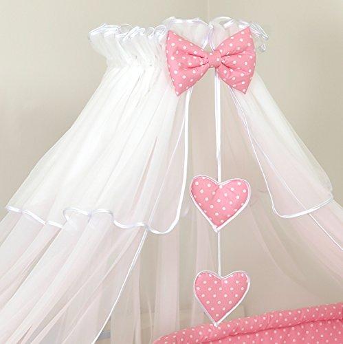 Pro Cosmo Hemel muggennet 480 cm + houder voor babybed, baldakijn, bedhemel, hartjes, hemelstang, wit roze met stippen