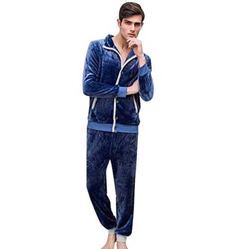 Heren pyjama herfst winter warme pyjamaset lange mouwen dikke jongens chic mode casual comfortabel zachte pluizig pyjama pyjama slaapbroek