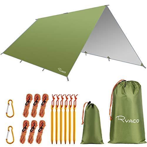 RYACO Camping tentzeil, 3 m x 3 m, tarp voor hangmat, waterdicht, licht, compact, tentonderlegger, picknickdeken, Hammock voor camping, outdoor, camping, outdoor, camping (3m x 3m, Army Green)