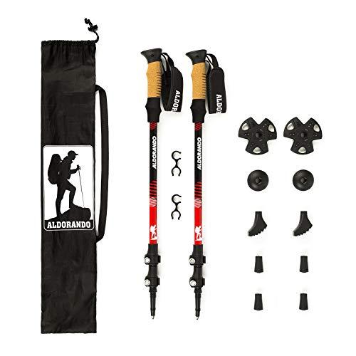 ALDORANDO Wandelstokken - 2-pack telescopische trekkingstokken - Inklapbaar, telescopisch, lichtgewicht aluminium 7075 - kurken handgrepen - Stokken voor mannen en vrouwen - Trail Running, nordic walking