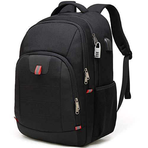 Laptoprugzak, Extra Grote Anti-Diefstal Zakelijke Reislaptop voor Laptop met Usb-Oplaadpoort, Waterbestendige Schoolrugzak voor Mannen / Vrouwen voor 17 Inch Laptop en Notebook - Zwart