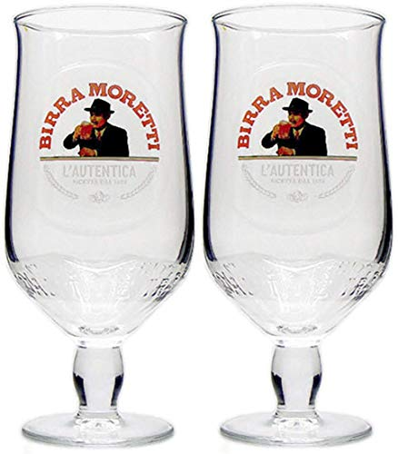 2 x Birra Moretti Half Pint Glas