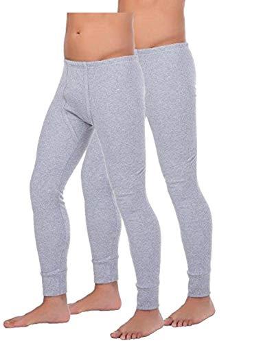 BestSale247 Set van 2 thermo-onderbroeken voor heren, lang thermo-onderhemd, ski-ondergoed, thermo-ondergoed, katoen, grijs, 3XL