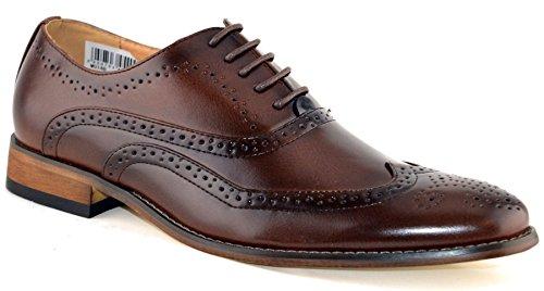 Mens leer gevoerd slimme bruiloft Lace Up Brogues formele jurk schoenen maat 6-12 - bruin - UK 10