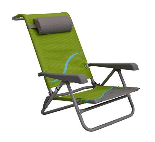 Meerweh Campingstoel voor volwassenen, strandstoel met verstelbare rugleuning en hoofdkussen, klapstoel, visstoel, groen/grijs, groen/grijs, XXL, 20031