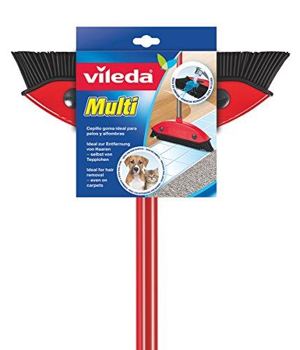 Vileda Multi bezem, met telescoopsteel, rubberen borstels, tegen dierenharen, verstelbaar van 75-130 cm