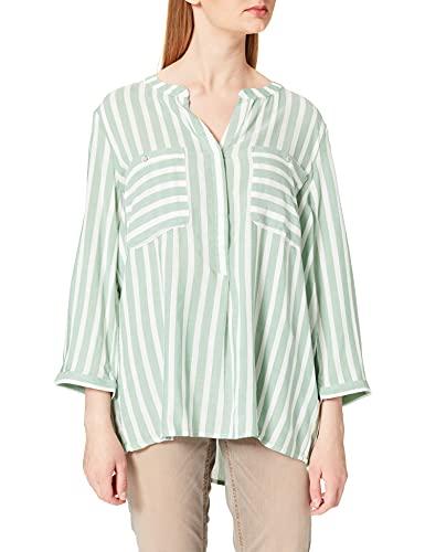 TOM TAILOR Dames Stripe Blouse, 26020 - Groen Offwhite Vertical Streep, 40 NL