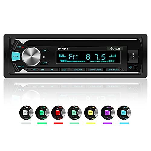 Auto Stereo Bluetooth, GOKOCO Autoradio Bluetooth Handsfree met USB/TF/AUX, 4x60W Single Din Autoradio met draadloze afstandsbediening en 7 LED-kleuren, Ondersteuning IOS en Android