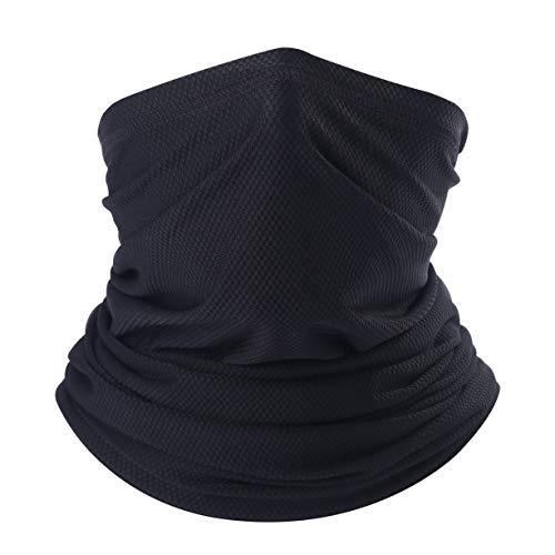 Arcweg Multifunctionele halsdoek voor dames en heren, sneldrogend, ademend, zacht, super elastisch, slijtvast, beschermt tegen de zon, gezichtsmasker, colsjaal, halsdoek, voor motor rijden, hardlopen, wandelen, zwart
