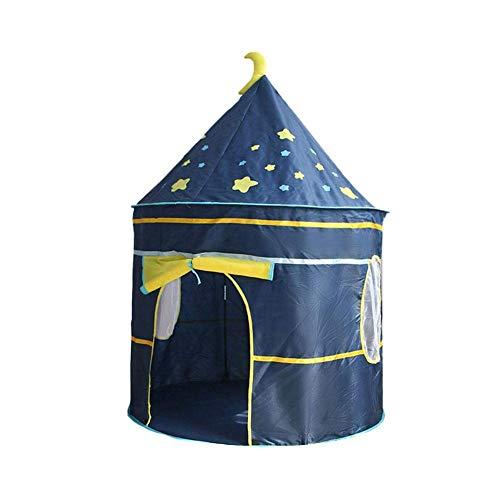 Childrens tipi speeltent met vloermat, eenvoudige installatie Yurt stijl maan sterren patroon kinderen kasteel speeltent voor binnen en buiten spelen, 41