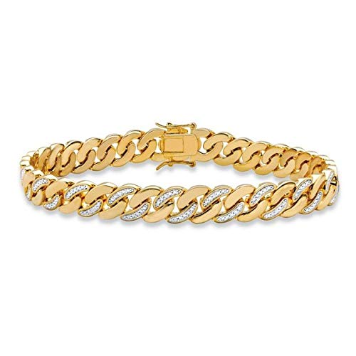 2.88 Ct ronde diamant mannen Crub Link ketting armband meer dan 14 k geel goud afwerking 925 zilver
