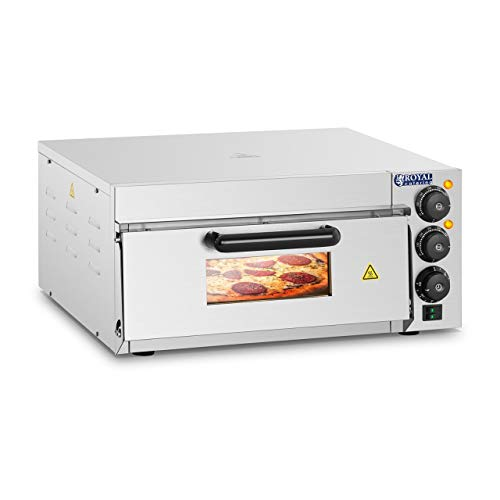 Royal Catering RCPO-2000-1PE Pizzaoven 1 Kamer 2000w Roestvrijstalen Oven 40 x 40 x 1,5 cm met Timerfunctie Bakoven met Chamotte Bodemplaat in de Keuken