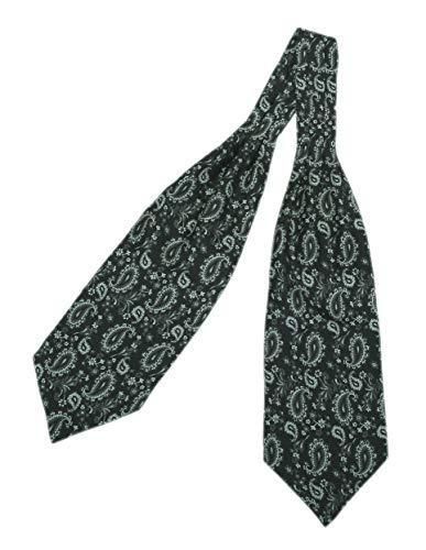 Prettystern heren stropdas sjaal 100% zijde 2-laags om paisley halsdoek te binden - 10e zwarte paisley