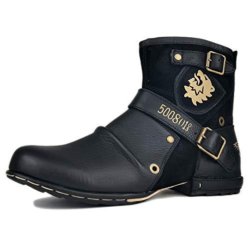 Mannen Vintage Enkel Winterlaars Klassiek Casual Herenlaarzen Leder Desert Boots OS-5008-1-N-S-Black-14