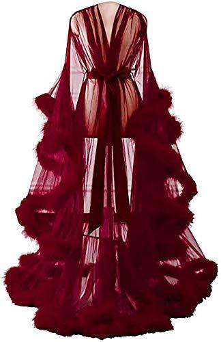 Kimono voor dames, kanten robe volant, lange mouwen, nachtkleding, ochtendjas, badjas, lingerieset met riem, Doorschijnende sexy jurk met uitlopende mouwen met veren,Wine red