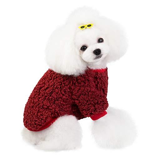 Vivi Bear Hondentrui, winterjas, fleece, kleding voor puppy's, warm, winddicht, voor honden, Doggy Boy Girl, kleding van dik katoen voor koud weer (5 maten, 4 kleuren)