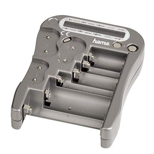 Hama Batterijtester universeel voor accu's en batterijen, testapparaat met LCD-weergave van de restspanning en knoopceltest, zilver