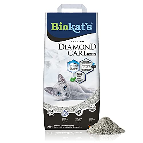 Biokat's Diamond Care Classic, geurloos - Fijne kattenbakvulling met actieve kool en aloë vera - 1 zak (1 x 10 l)