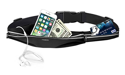 MoKo Sports Running Belt, Sweatproof Runner Waist Pack, 2 Pockets Fitness Workout Fanny Pack for Plogging Hiking Compatible with iPhone 11/11 Pro/11 Pro Max/X/Xr/Xs Max/8/7, Galaxy S10/S9/S8, S10e