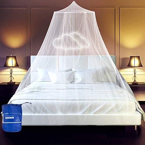 esafio Klamboe bed, groot muggennet incl. montagemateriaal, muggenbescherming, tweepersoonsbedden met extra grote spanring voor thuis, ook op reis