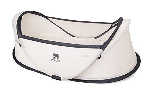 DERYAN Travel Cot reisbed - baby - pop-up - licht, compact en opvouwbaar - opengeklapt in slechts 2 seconden - met muggennet en draagtas - crème