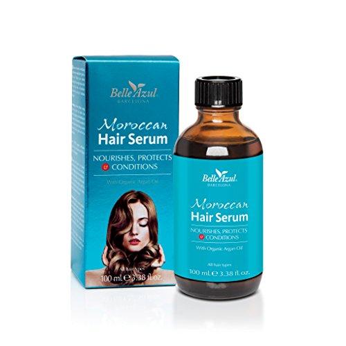 Belle Azul Marokkaans haarserum, rijk aan biologische Marokkaanse arganolie, voedt en verzorgt, voor glad en glanzend haar, beschermt tegen hitteschade en vermindert pluis, voor alle haartypes, niet-vettig, 100 ml.