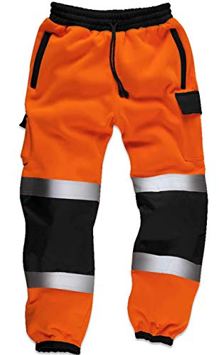 Qaswa Hi Viz Werkbroek voor heren, met reflecterende fluorescerende joggingbroek, veiligheid van fleece, oranje, XXL
