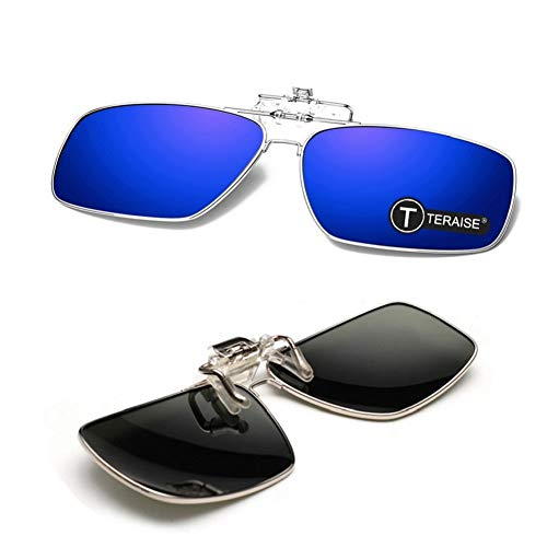Metallic Rim gepolariseerde clip-on zonnebril Heren clip-on zonnebril met opklapfunctie Geschikt voor buitensporten